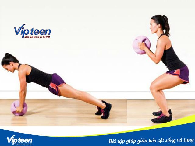 Bài tập ngồi xổm kết hợp chống đẩy để chiều cao phát triển tối ưu cho nữ