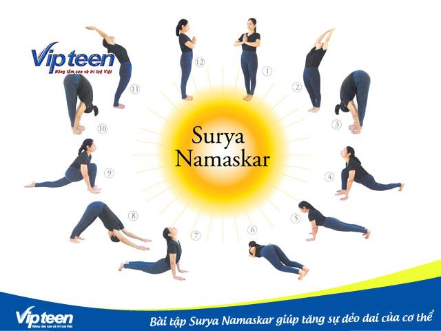 Bài tập Yoga Surya Namaskar với 12 tư thế giúp tăng chiều cao