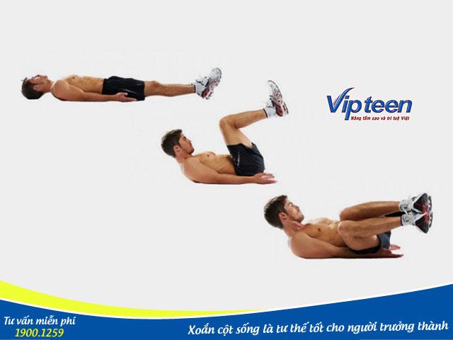 Tư thế xoắn cột sống là bài tập thể dục giúp phát triển chiều cao