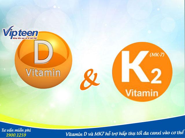 Vitamin D và MK7 giúp cơ thể hấp thụ canxi hiệu quả