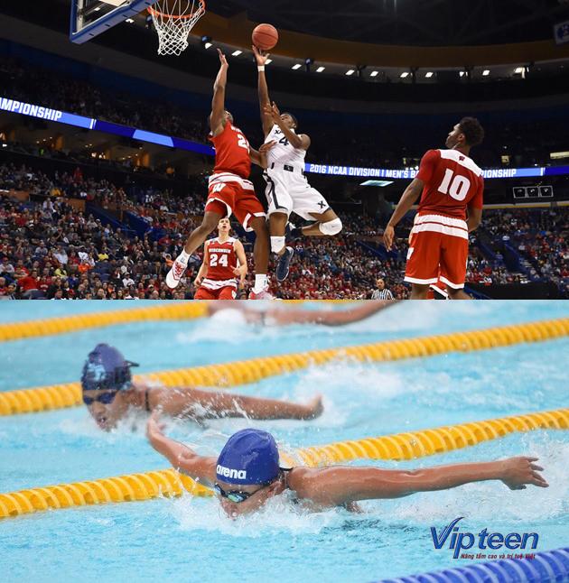 cách tăng chiều cao ở tuổi 15 - bơi lội và bóng rổ