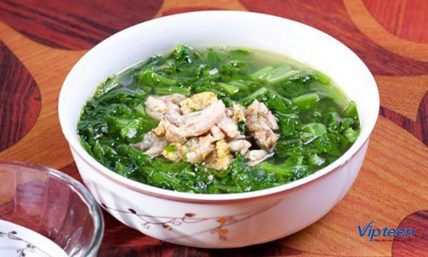món ăn giúp tăng chiều cao - rau cải nấu thịt băm