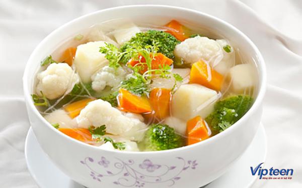 món ăn giúp tăng chiều cao - canh rau củ