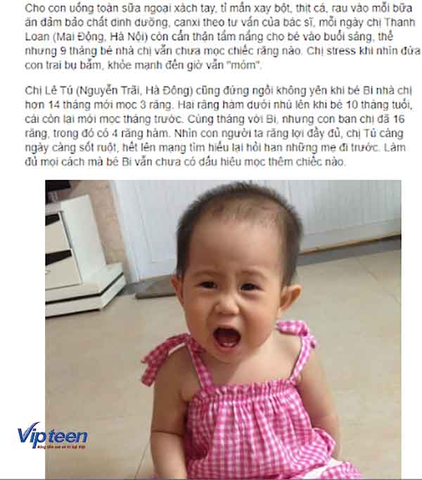 Ví dụ về tình trạng trẻ em chậm mọc răng của 2 mẹ ở Hà Nội