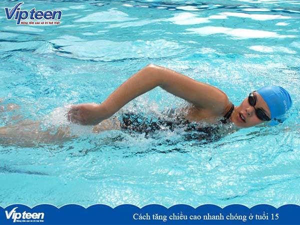 bơi lội tăng chiều cao tuổi 15